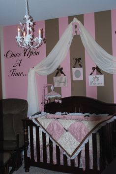 Design Dazzle Pink Brown Baby Nurseries I Like The Initial Holding Fabric