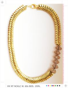 """Brass """"Fishbone"""" Hex Nut Necklace with 60's Beads. $95.00, via Etsy. I went to the hardware store to make this myself and it would've cost 75. So I'll just admire it from here"""