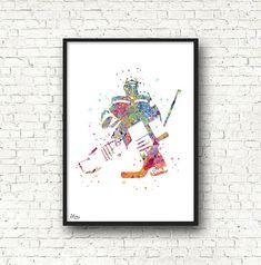Hockey sur glace art, sport poster, hockey affiche, idée cadeau fête des pères, cadeau anniversaire, joueur de hockey, grand format