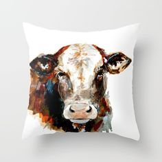 Buy  Cow watercolor Throw Pillow by craftberrybush. Worldwide shipping available at Society6.com. Just one of millions of high quality products available.