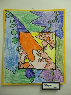 Line lesson with warm and cool colors--let students choose from a variety of shapes for the center (triangle, heart, circle, etc.) that way not every one looks so similar