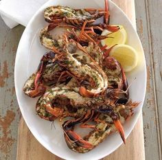 Grilled marron with chilli, rosemary and lemon butter