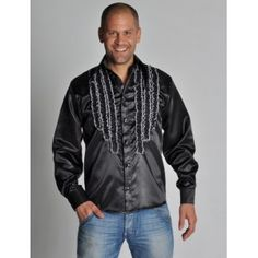 Chemise disco noire homme, Déguisement chemise disco homme, satin chic, années 70-80, fêtes