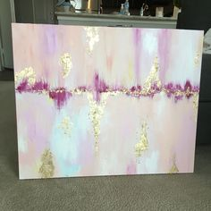 Pink and Gold Leaf Abstract Www.etsy.com/shop/jillianrarschmidt