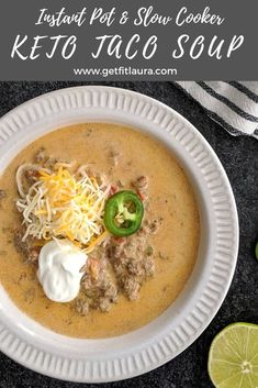 net carbs per serving. Low Carb Recipes, Cooking Recipes, Best Meal Prep, Keto Taco, Keto Soup, Keto Foods, Crockpot Meals, Keto Dinner, Healthy Options