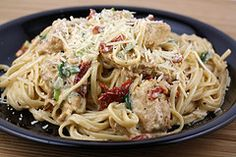 Ingredients:  2 boneless skinless chicken breasts (cut into small strips)  4 ounces linguini (cooked all dente)  2 teaspoons Cajun seasoning  2 tablespoons butter  1 green onion (thinly sliced)  2 cups heavy whipping cream  2 tablespoons sun-dried tomatoes (chopped)  ¼ teaspoon salt  ¼ teaspoon dried basil  1/8 teaspoon ground black pepper  1/8 teaspoon garlic powder  ¼ cup parmesan cheese  •Cooking Instructions:      Step 1: Place chicken strips and Cajun seasoning in a...