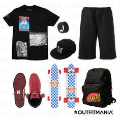 Sport stylish outfit - t shirt over size - total black | Skateboarding #outfitmani #cool | http://www.outfitmania.it/