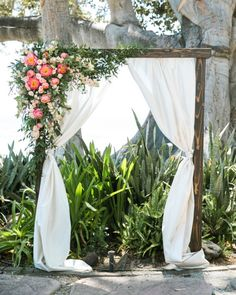 """1,726 Likes, 6 Comments - Style Me Pretty (@stylemepretty) on Instagram: """"With Maui's lush tropical setting as a backdrop, this ceremony arch, with its coral charm peonies…"""""""