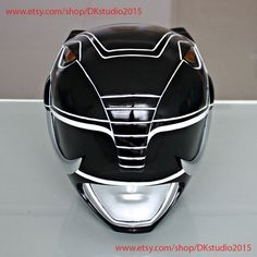 1:1 Scale Halloween Costume, Mighty Morphin Power Ranger Helmet Costume Mask, Power Ranger Cosplay Black Ranger PR15
