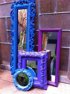 Upcycled Mirrors, Blue, Purple, Vintage Mirrors, Unique Home Decor. $45.00, via Etsy.