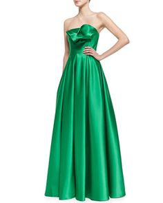 Love this -- Strapless Ruffle-Bodice Gown, Kelly Green by Carmen Marc Valvo at Neiman Marcus.