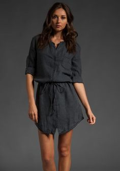 NWT James Perse Prussian Navy Blue Button Down Linen Summer Shirt Dress 2 M $185 #JamesPerse #ShirtDress #Casual