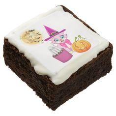 #Pink Kitten Halloween Cartoon Brownie - #halloween #brownies #sweets #goodies