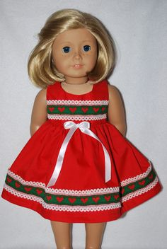 """Doll Clothes fit 18 """" American Girl dolls & 19"""" Chatty Cathy handmade in the USA #redcottondresswithprettyhearttrim #DollClotheslittleredcottondresshearttrim"""