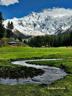 Fantastic beauty of great fairy meadows Nanga Parbat peak Karakoram mountains range Hunza valley Gilgit Baltistan Pakistan