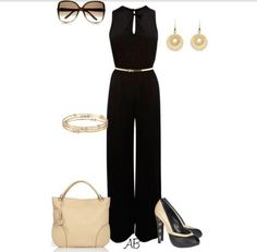 A fashion look from March 2012 featuring jump suit, high heeled footwear and leather man bags. Browse and shop related looks. Classy Outfits, Pretty Outfits, Black Pant Suit, Blush Dresses, Classic Chic, Black Romper, Look Chic, Party Fashion, Polyvore Outfits