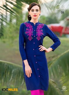 blue color trendy rayon women tunic for office wear. Shop embroidery designs simple casual wear kurtis online paired with leggings. Pakistani Dresses, Indian Dresses, Indian Outfits, Lace Dresses, Stylish Dress Designs, Stylish Dresses, Stylish Kurtis, Indian Attire, Indian Wear