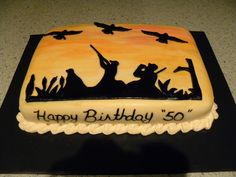Duck Hunt - all fondant, with hand painted lettering and sunset  for an avid duck hunter