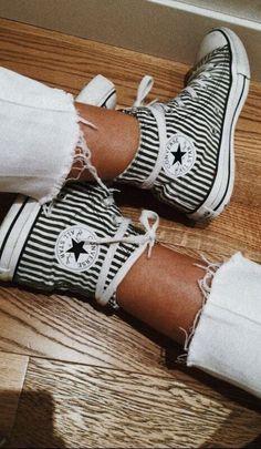 ac8610e796382f black and white striped converse high top love
