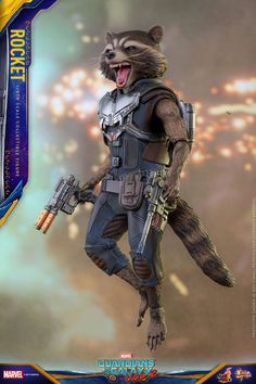 The Rocket Raccoon Hot Toy from the upcoming Guardians of the Galaxy Vol. 2 line has been revealed by Hot Toys, including a Baby Groot! Marvel Heroes, Marvel Characters, Marvel Avengers, Rocket Raccoon, Racoon, Mighty Power Rangers, Guardians Of The Galaxy Vol 2, Sideshow Collectibles, Marvel Cinematic Universe