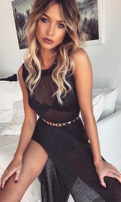 #summer #outfits  Black Mesh Maxi Dress 🙌🏻