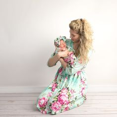 Breastfeeding Nightgown Night Gown and Baby Gown Set -Nursing Gown and Baby Outfit Mom and Baby Hospital Outfit 3 PC Set