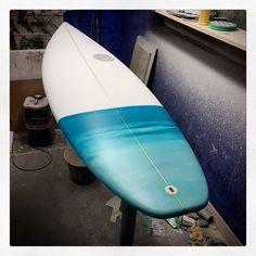 Custom Stepup Scavenger resin tint painted tail FCSII 5 fin setup. #visionary #custommade #shortboard #surfboard #resinart #madetoorder http://ift.tt/19MEsb6
