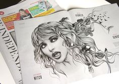 Editorial commission from the Independent on Sunday, to visualise Kate Bush and her enduring, iconic image and music.