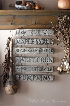 Reclaimed Wood Welcome Sign Wooden Crate Trio Mason Jar Chandelier Vintage Farmhouse Animals Sign Preserved Boxwood Wreath Twine LOVE Wine Bottles Vintage Wooden Canisters Custom Primitive Aged Farm Stand Wooden Menu Sign with Rusty Hook & Chain Set … Primitive Signs, Primitive Crafts, Country Primitive, Wood Crafts, Primitive Fall, Primitive Kitchen Decor, Rustic Signs, Wooden Signs, Painted Signs
