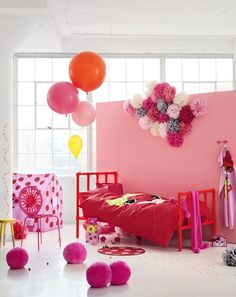 Red & Pink. Brilliant way to temporarily change a room. I'm thinking of a wall of fabric instead of paint!