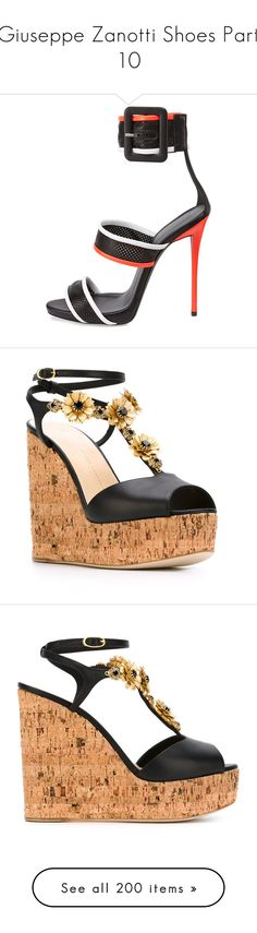 """Giuseppe Zanotti Shoes Part 10"" by leanne-mcclean ❤ liked on Polyvore featuring shoes, sandals, heels, high heel sandals, padded sandals, leather shoes, perforated leather shoes, giuseppe zanotti shoes, platform wedge sandals and leather wedge sandals"