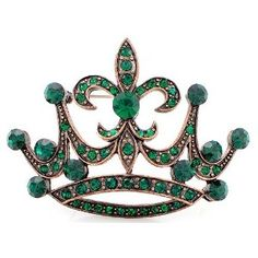 Emerald Crown with Fleur-De-Lis, Vintage Style Austrian Crystal.
