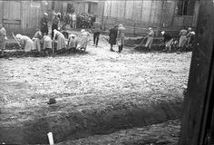 Plaszow, Poland, 1943, Women prisoners at forced labor in the camp.