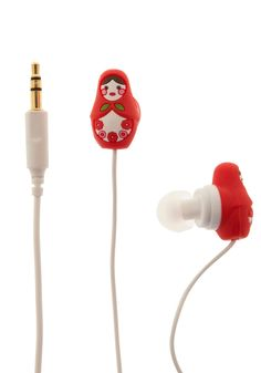 Country House Earbuds in Nesting Dolls by Decor Craft Inc. - Red, Dorm Decor, Quirky