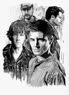 Here's my latest tribute piece, this time for one of my favorite shows: Supernatural. In this pic is Dean and Sam Winchester, Bobby Singer with his trad. Supernatural Impala, Supernatural Imagines, Supernatural Drawings, Supernatural Bloopers, Supernatural Tattoo, Supernatural Fan Art, Supernatural Wallpaper, Supernatural Christmas, Supernatural Seasons