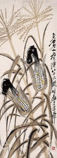 https://flic.kr/p/9qSMxP | 齐白石 玉米图 | Painted by Qi Baishi (齊白石, 1864-1957).  China Online Museum - Chinese Art Galleries