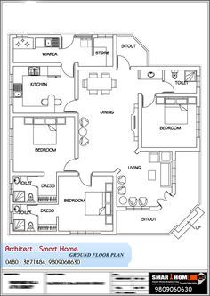 Here is a good Kerala Style single floor house plan with House Elevation Details : Floor Plan : Advertisement For More Information: Kindly Contact, Desig Bungalow Floor Plans, Home Design Floor Plans, Duplex House Plans, House Layout Plans, Bedroom Floor Plans, House Layouts, House Floor Plans, Plan Design, Layout Design