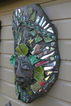 detail of cabbage man, side view, mirror and mixed media, 2014