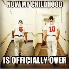Baseball just won't be the same without Chipper Jones! Tomahawk Chop, Kelsey Rose, Braves Baseball, Baseball Memes, Baseball Players, Softball, Chipper Jones, Georgia Girls, Last Game