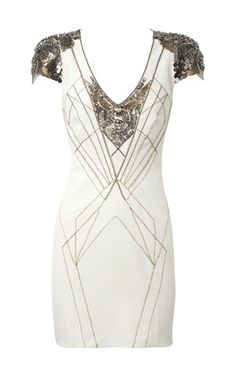 white art deco mini dress [ this would be a cool bridal shower dress