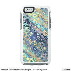 Peacock Glass Mosaic Tile Purple Blocks Lavander OtterBox iPhone 6/6s Case