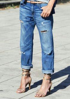 boyfriend jeans and strappy heels.