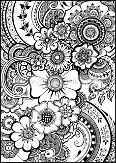 beautiful henna flowers and paisleys colouring by gwendaviesart - Coloring Pages Adult