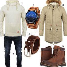 Winteroutfit mit beigem Hoodie und Parka (m0816) #hoodie #parka #boots #stiefel #outfit #style #herrenmode #männermode #fashion #menswear #herren #männer #mode #menstyle #mensfashion #menswear #inspiration #cloth #ootd #herrenoutfit #männeroutfit