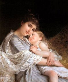 Maternal Affection by Emile Munier (1840 – 1895, French)