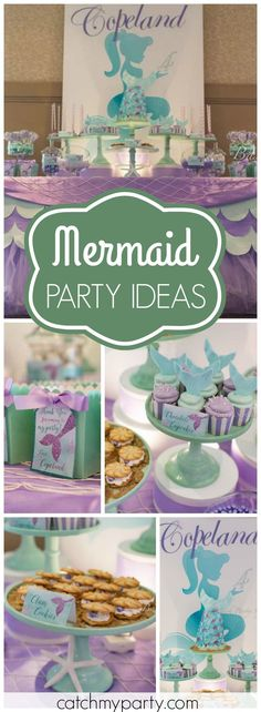 What a lovely purple and teal mermaid girl birthday party! See more party ideas at Catchmyparty.com!
