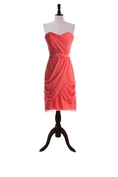 Draped Sweetheart Dress With Satin Inset Waistband