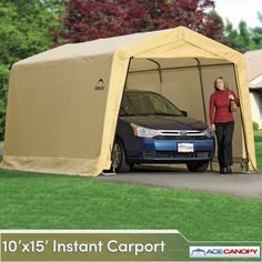 Outdoor Car Garage Storage Portable Canopy Shelter Carport Shed Auto 10 x 15 x 8 Portable Awnings, Portable Carport, Portable Canopy, Backyard Canopy, Garden Canopy, Canopy Outdoor, Gazebo Canopy, Carport Sheds, Carport Kits