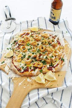 Yuuum. Beer battered calamari pizza. Been looking for a not so typical pizza recipe. And Bev is my spirit animal.