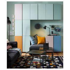 """IVAR Cabinet, pine, 32x12x33"""" - IKEA Ikea Wall Cabinets, Ikea Ivar Cabinet, Ikea Shelves, Tv Cabinets, Ikea Ivar Regal, Kiefer, Minimalist Living, Solid Pine, Panel Doors"""